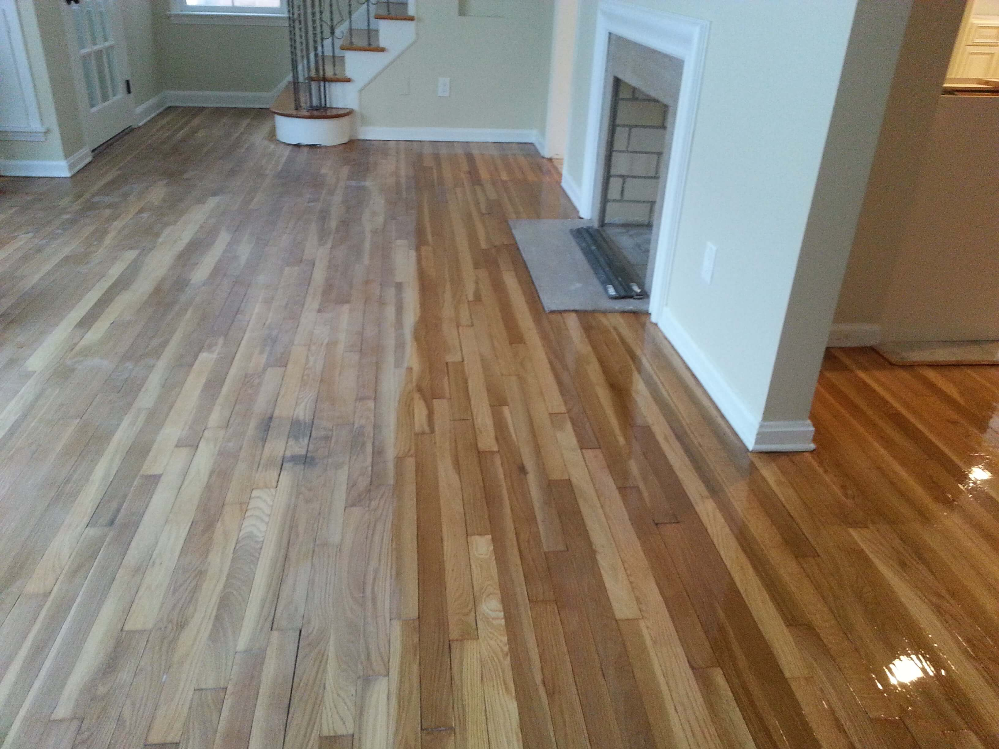 Before and after wood floor staining