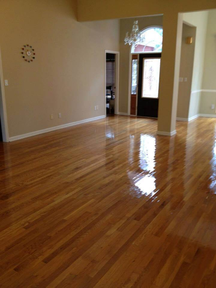a completed hardwood floor resurfacing project