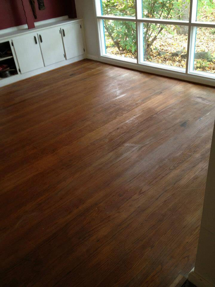 a floor before being refinished by Fabulous Floors