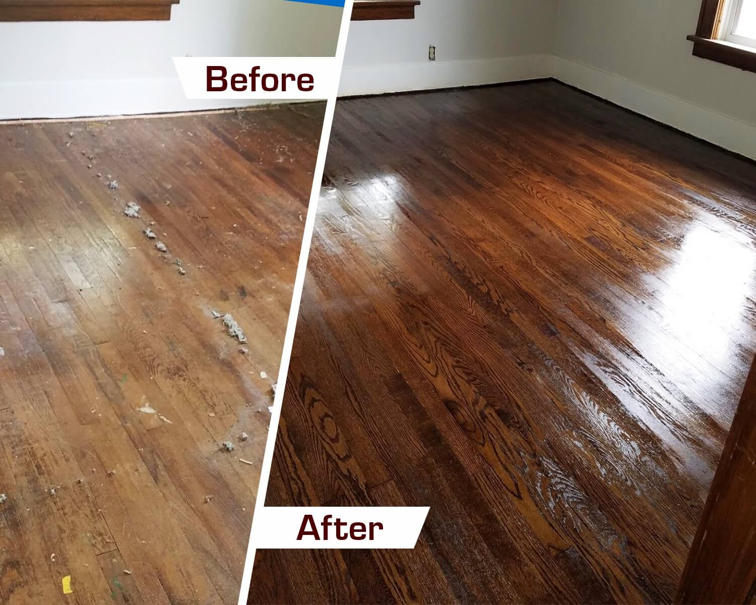 before and after hardwood floor refinishing in Bethel Park, PA