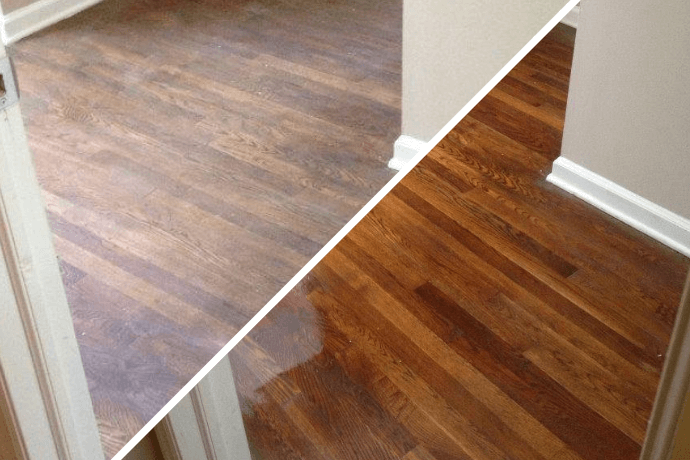 before and after hardwood floor refinishing in Cranberry, PA