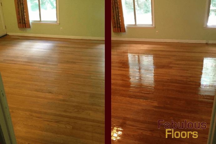 Before and after hardwood floor Refinishing image