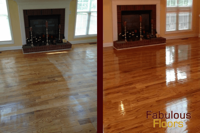 before and after hardwood floor refinishing in Westford, PA
